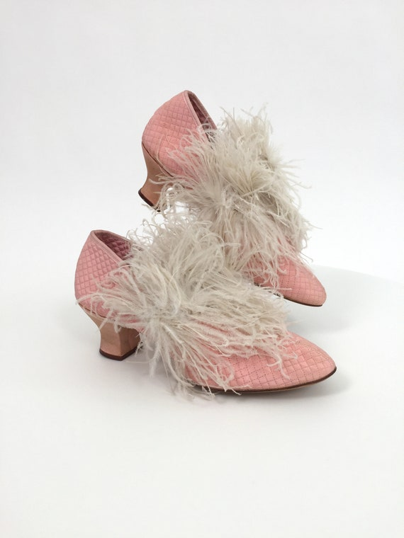 1920s boudoir slippers shoes pink with ostrich fea