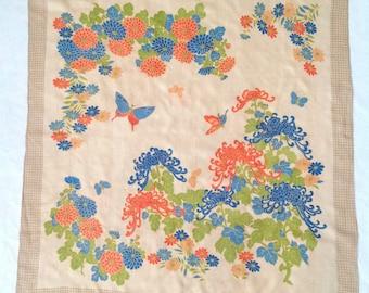 1920s scarf raw silk Japanese pongee flowers butterflies vintage antique