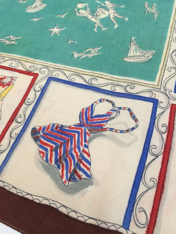 1940s silk scarf beach scenes and fashion vintage… - image 3