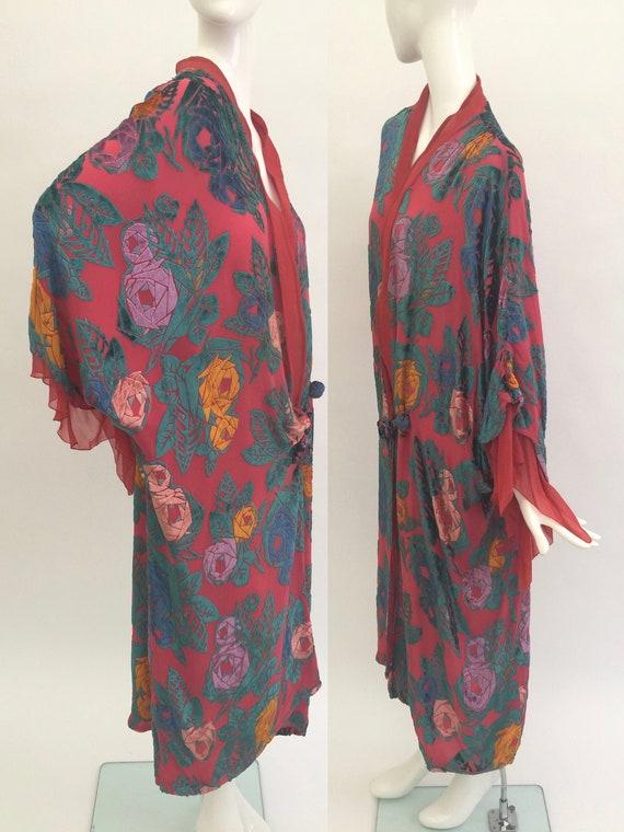 1920s robe coat pink devoré velvet silk vintage an