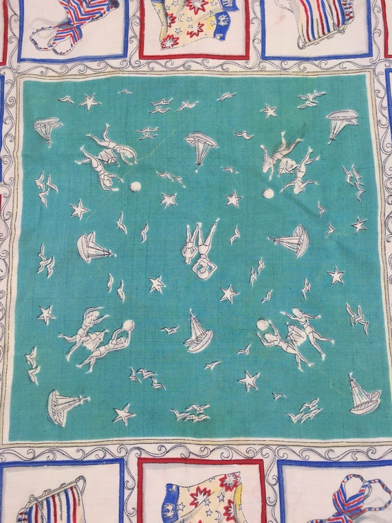 1940s silk scarf beach scenes and fashion vintage… - image 6