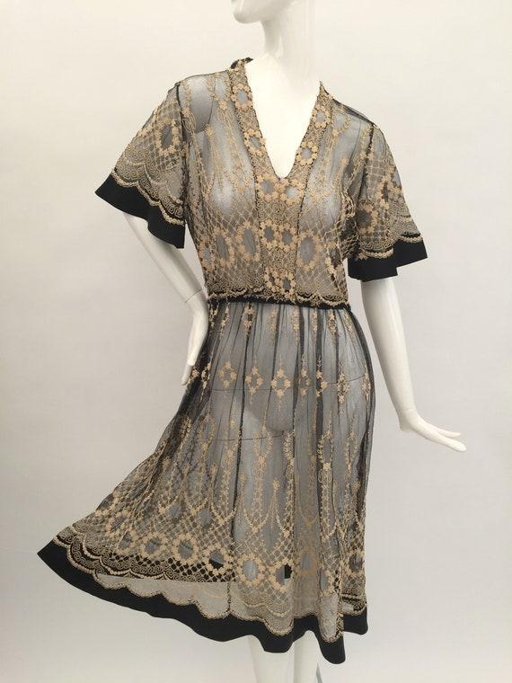 1920s dress embroidered vintage antique