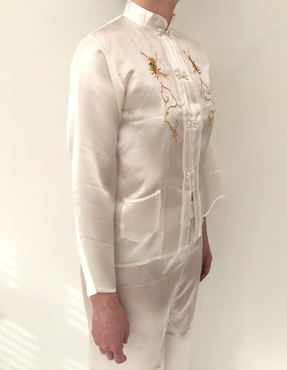 1940s pyjamas and robe Chinese embroidered silk satin in  bfb08b856