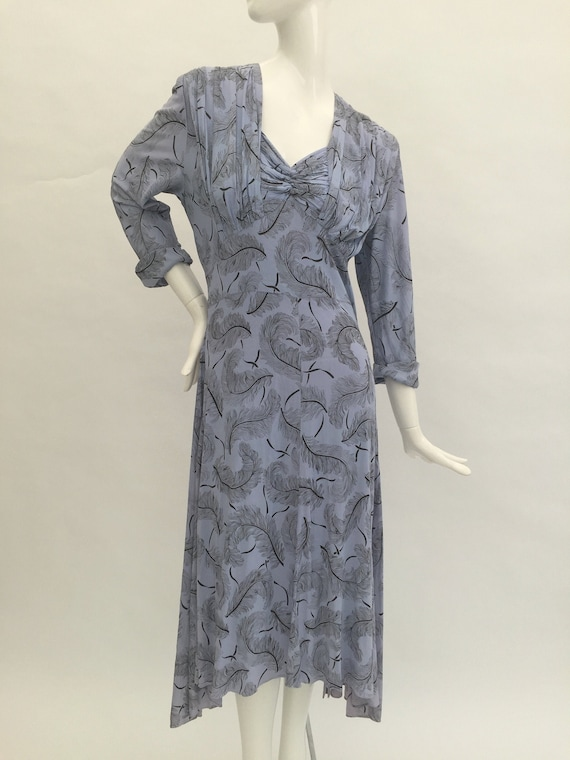1940s dress ostrich feather novelty print vintage