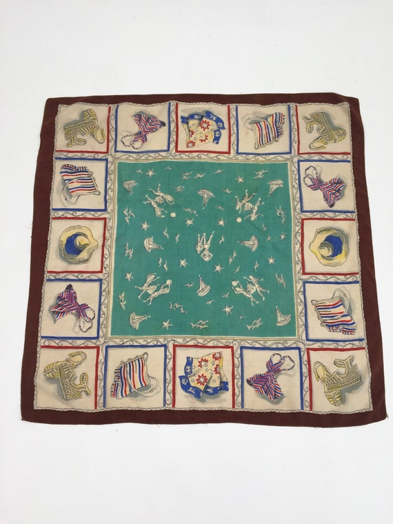 1940s silk scarf beach scenes and fashion vintage… - image 2