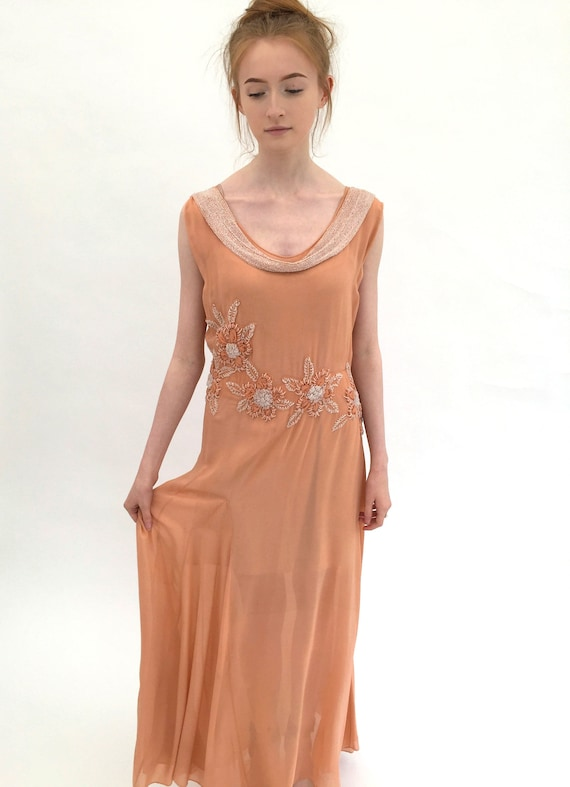 1930s beaded dress bias cut chiffon vintage antiqu