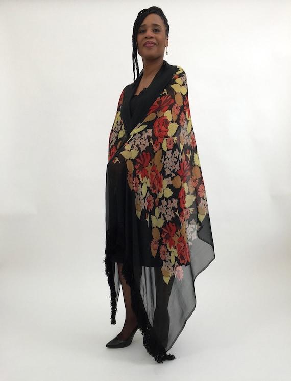 1920s shawl silk chiffon vintage antique - image 7
