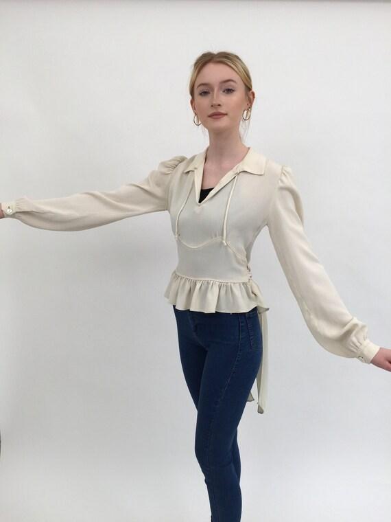 1940s Utility blouse crepe vintage antique