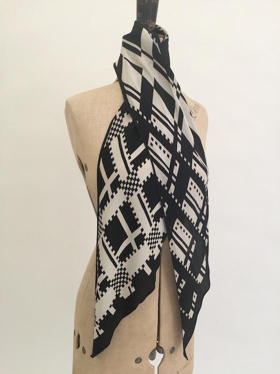 1930s silk scarf black and white Art Deco vintage