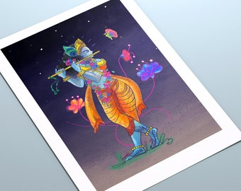 Krishna Art Print | Giclée Archival Print | Krishna illustration | Spiritual painting | Yoga Art