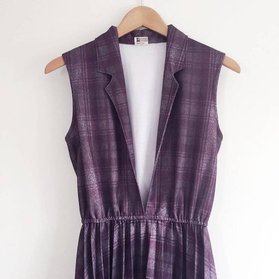 60s check purple dress