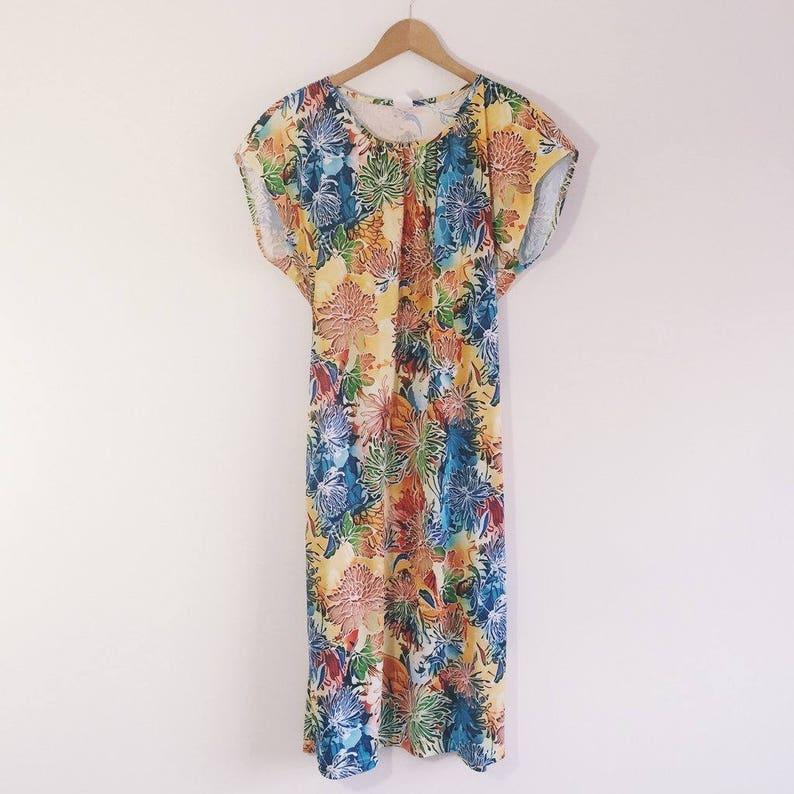 60s Vintage Bright Summer Dress size 14 UK