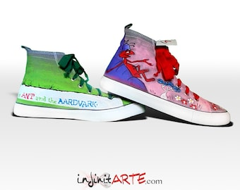 Custom hand painted The Ant and the Aardvark shoes