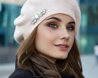 Beige classic beret for women Wool angora warm hat Knitted Black White Red Winter Pink Hat Gift for her