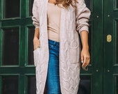 Beige knitted long cardigan Wool Oversized knitted cardigan sweater Magenta Womens sweater Long womens coat Gray cardigan White wool sweater