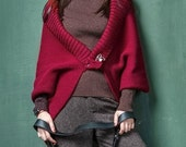 Oversized knitted cardigan Casual cardigan ladies wool bat shoulders Kimono cardigan Womens Chunky burgundy cardigan