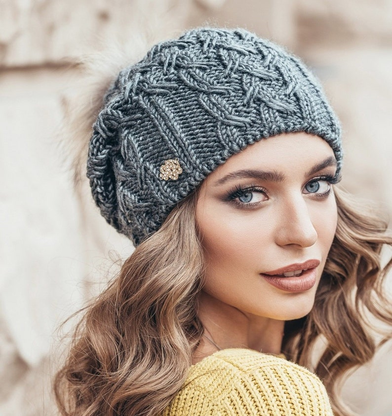 44fe86e1c30cc Gray Winter hat pom pom Wool hat for women Warm Knitted winter