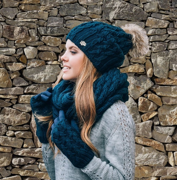 Winter set hat with pompon scarf gloves for women Wool Knitted  818241f71ff