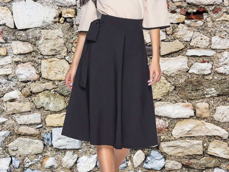 ac213ed8ec9 Jupe femme drapée Bureau jupe noire jupe printanière jupe
