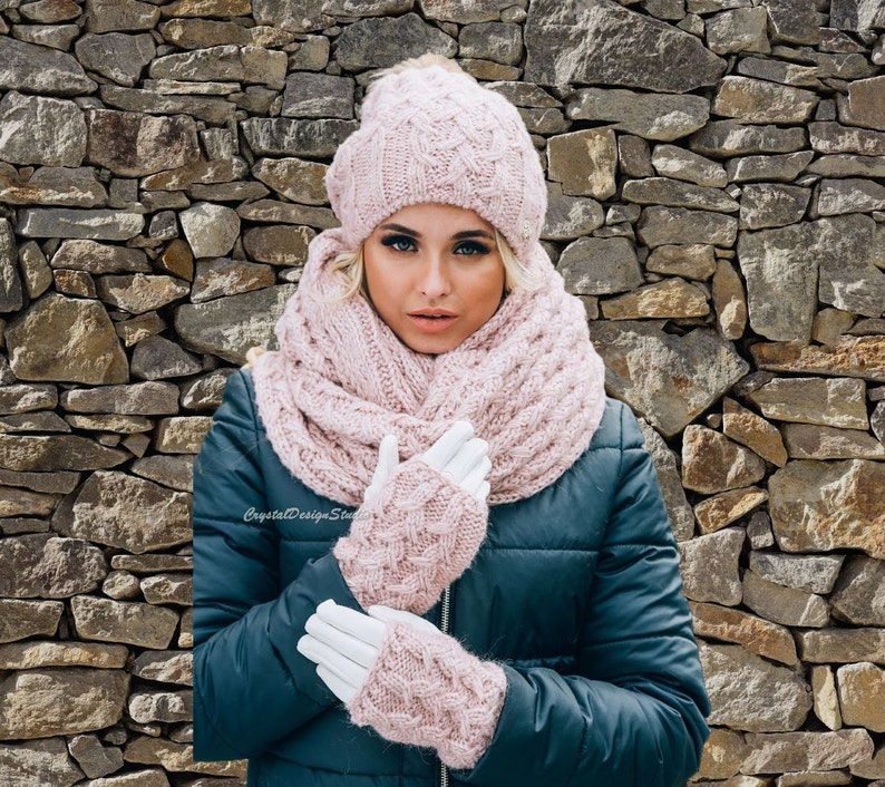 10a4d881ef5 Pink Set hat infinity scarf gloves for women Wool hat with