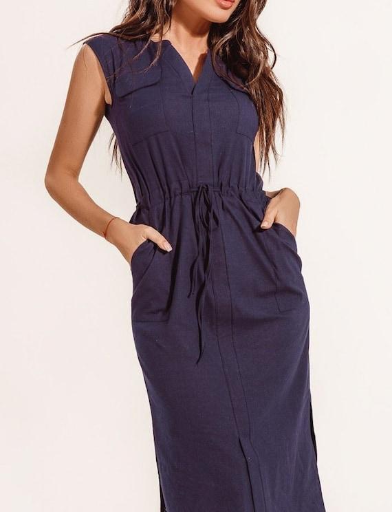 Navy blue dress casual wear for women