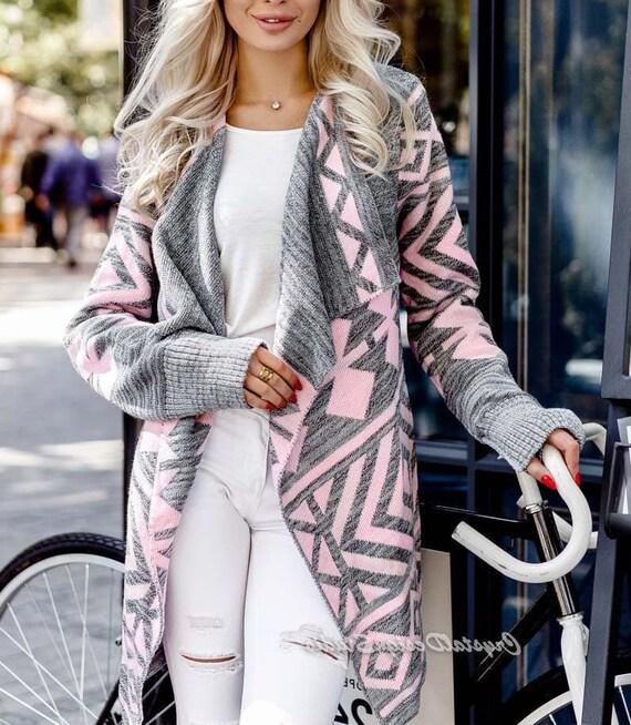 best authentic 446fe 3f00f Übergroße Strickjacke grau, die kurze Strickjacke mit Ornament Kimono  Strickjacke Flechtwerk lange Wolle gestrickte Damen Strickjacke stricken
