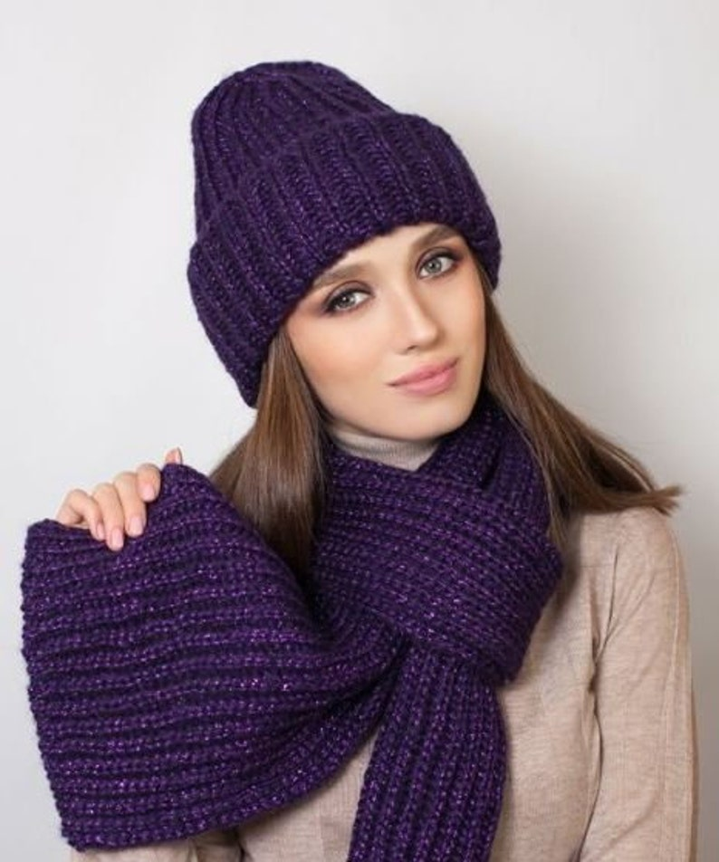 677a1b612ce2d Violet Set hats and scarf for girl Bordeaux Wool hat Blue