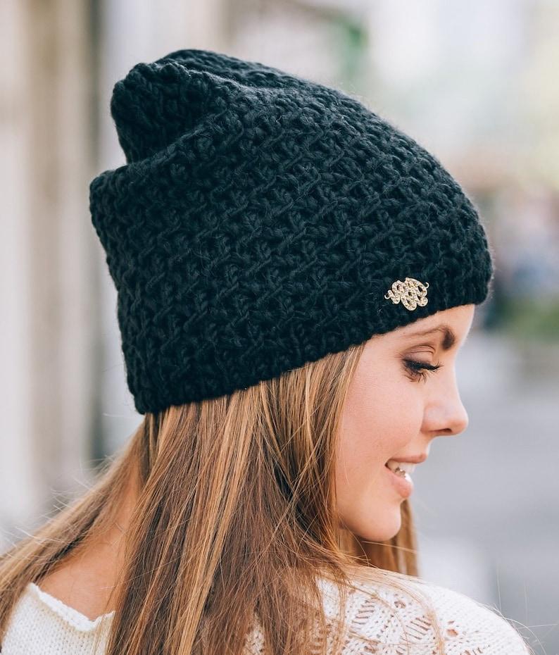 d9e758e690f Gestrickte Mütze schwarz Winter Hüte Frauen Wolle stricken