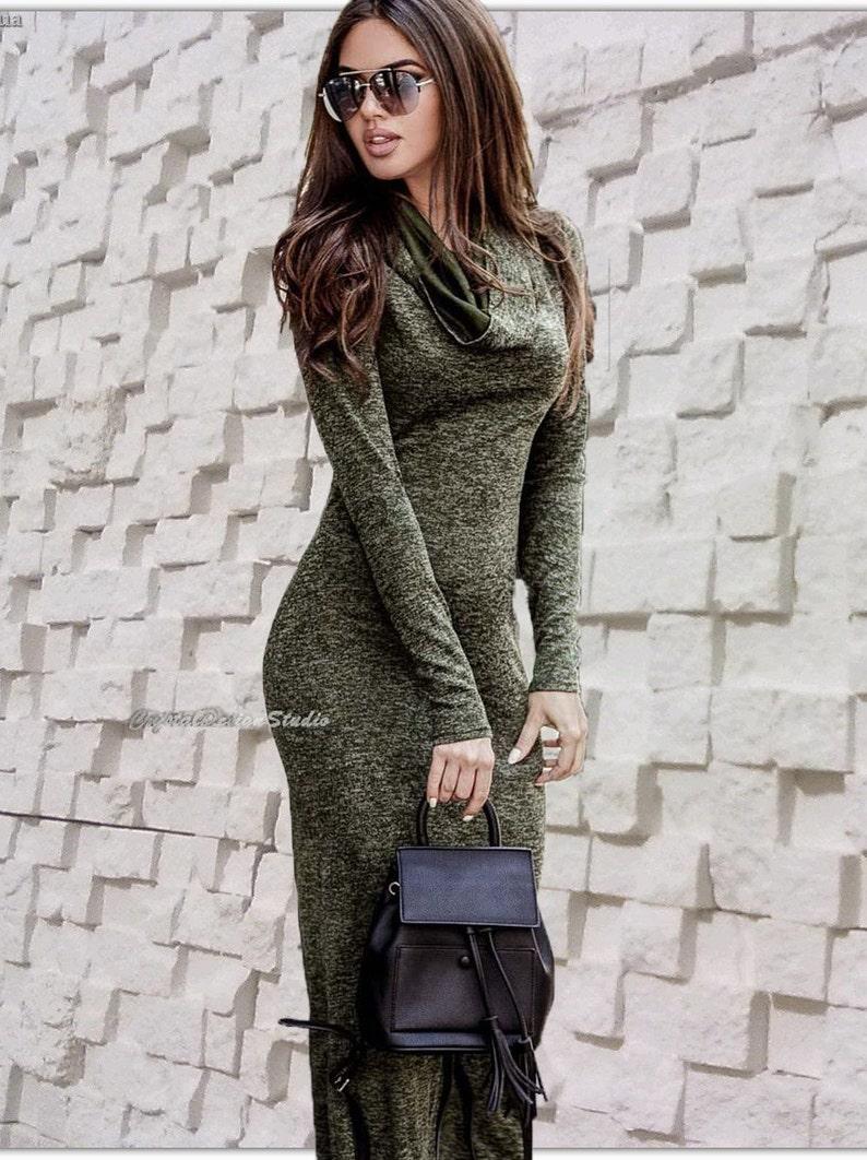 4e0a1dbc26f Womens Long Sleeve Jersey Maxi Dress