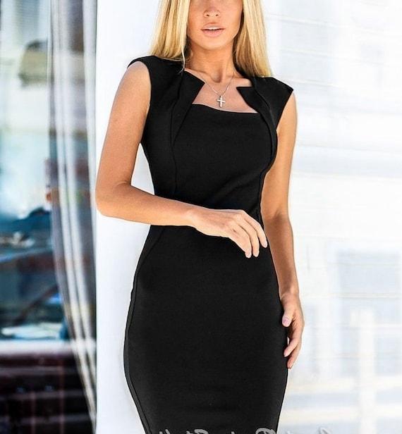 best deals on look good shoes sale san francisco Elegant Jersey dress casual wear Midi dress short sleeve Office dress black  Casual women's dress Dress-case Little black dress Day dress