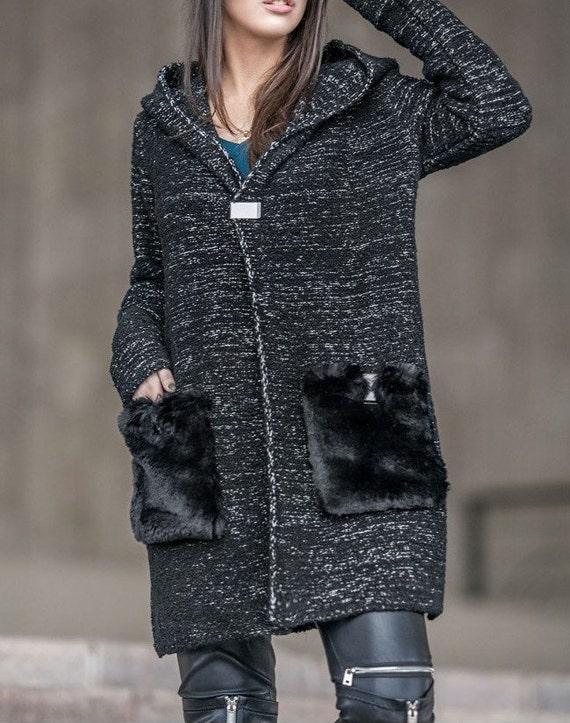 Women Outwear Gray Oversize S-2xl Knit Sweater 2019 Hooded Long Cardigan Coat