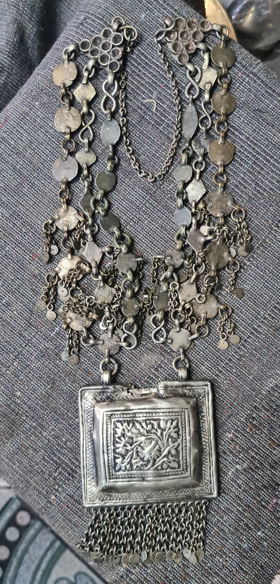 Vintage Kashmiri Pendant Necklace, Beautiful Ethni