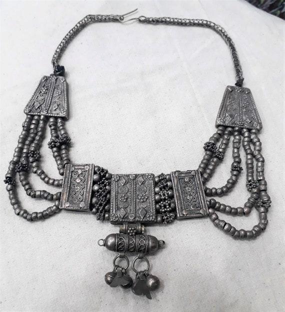 Tribal Antique silver /& leather \u201ckitab\u201d amulet pendant ethnic jewelry Mauritania