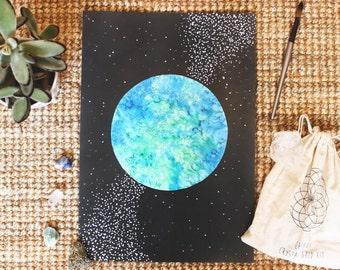 PRINT - Watercolour Planet Earth