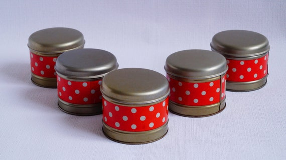 Vintage red kitchen tins - Set of 5 jars storage - Soviet kitchen  containers - Red polka dot - Soviet Retro canister set - Christmas gift