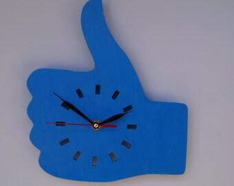 Wooden  Like wall clock- Blue unique  wall decor  clock - Hand wall clock - Minimalist wall clock - Acrylic wall clock