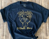 Pitbull Mom Navy T-Shirt