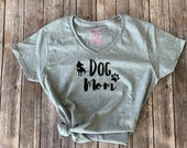 Dog Mom Graphic V-neck Grey T-shirt