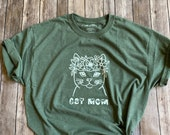 Cat Mom Floral Cat Graphic t-shirt Size L Heather Army Green