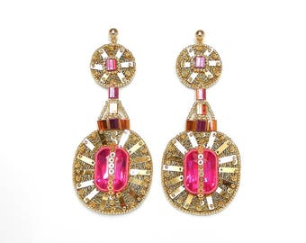 Women's hand embroidered lady's earrings unique precious elegant glamorous light originals like a feather