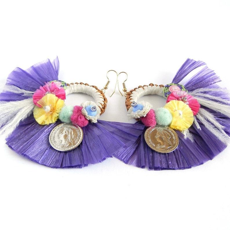 Handmade earrings Pendants of the summer 2018 Raffia Sea Jewels Superlight Model original Color Purple Fashion Style Summer