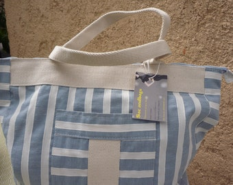 Tote bag blue white striped cotton canvas