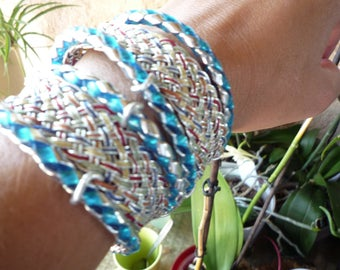Bangle 2 laps plaited blue and Silver metallic threads