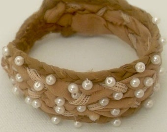Braided Fabric Bracelet with Mocha Brown Silk, Lace and Faux Pearls