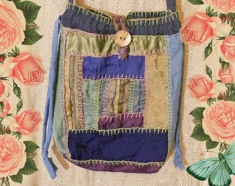Embroidered Patchwork Hippie Purse, Cross Body, Shoulder Bag