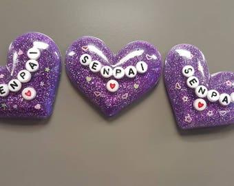 Heart Shaped Senpai Glitter Magnet