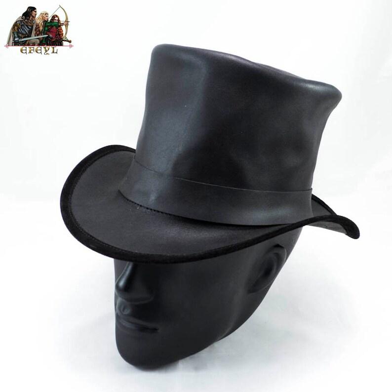 7c2e90102da Lederen hoge hoed met riem | Etsy