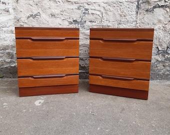 Pair Of Remploy Bedside Cabinets Chest Of Drawers Mid Century Modern Retro Vintage Furniture Storage Tallboy Teak Bedroom Furniture