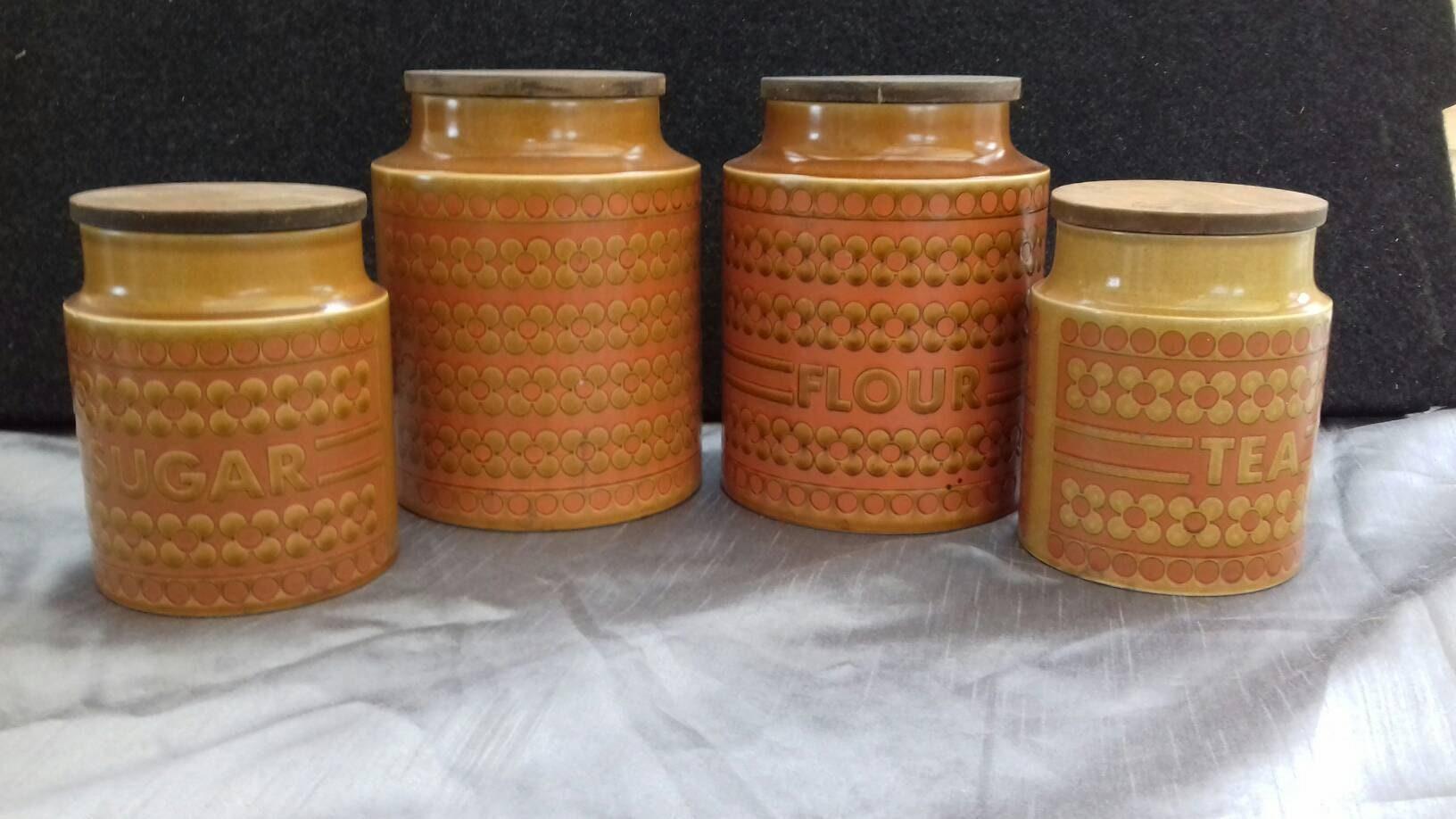 Hornsea Pottery Herb Planter Garden Retro Vintage Kitchen Jars Pottery  Canisters Condiment Jars Studio Pottery Saffron Canisters
