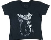 Orenda Oshun Skeleton Mermaid Festival Boxy Tee Screen Printed Original Art
